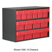Akro-Mils Super Modular Cabinet AD1817C68RED Grey w/ 9 Red Akrodrawers 18 x 17 x 16-1/2