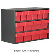 Akro-Mils Super Modular Cabinet AD1817CASTRED Grey w/ 8 Red Akrodrawers 18 x 17 x 16-1/2