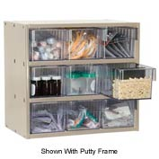 Akro-Mils Super Modular Cabinet AD1817P68CRY Putty w/ 9 Clear Akrodrawers 18 x 17 x 16-1/2