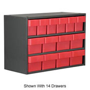 Akro-Mils Super Modular Cabinet AD1817P68RED Putty w/ 9 Red Akrodrawers 18 x 17 x 16-1/2