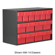 Akro-Mils Super Modular Cabinet AD2311C62RED Grey w/ 12 Red Akrodrawers 23 x 11 x 16-1/2