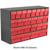 "Akro-Mils Small Stackable Grey Cabinet AD3511C w/16 Red Akrodrawers 36"" x 11"" x 22"""