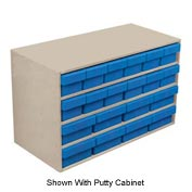 Akro-Mils Large Stackable Grey Cabinet AD3517C w/20 Blue Akrodrawers 35 x 17 x 22