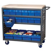 "Akro-Mils Small Grey Louvered Shelf Cart Hardwood Top MA3618C w/16 Blue Drawers, 37""L x 18 ""W x 36""H"