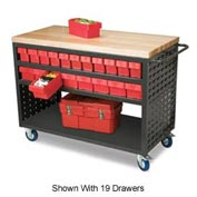 Akro-Mils Large Grey Louvered Shelf Cart Hardwood Top MA4824C w/38 Red AkroDrawers