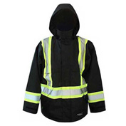Viking® Journeyman FR Professional Trilobal Rip-Stop Jacket W/Hi-Vis Safety Striping Black, XL