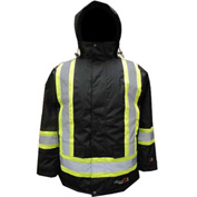 Viking Journeyman FR Professional Insulated Trilobal Rip-Stop Parka W Hi-Vis Striping, M