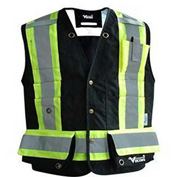 Viking® Journeyman FR Professional Trilobal Rip-Stop Surveyor Vest, Black, L