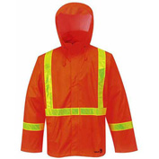 "Viking® FR PU Rain Jacket W/Hood, 2"" Yellow Prism Reflective Tape, Orange, XL"