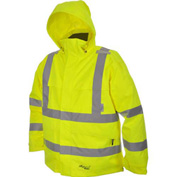 Viking® D6329JG Journeyman Hi-Vis 300D Trilobal Safety Jacket W/ Hood, Green, 4XL