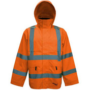 Viking® D6329JO Journeyman Hi-Vis 300D Trilobal Safety Jacket W/ Hood, Orange, M