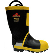 Viking® Firefighter Felt Lined Work Boots, Black/Yellow, Size 8