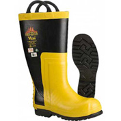 Viking Snug Fit Firefighter Chainsaw Boots, Black/Yellow, Size 8