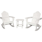 Hanover 3-Piece All-Weather Rocking Adirondack Patio Set, White