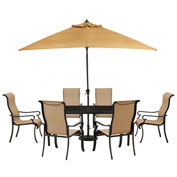 Hanover Brigantine 7-Piece Outdoor Dining Set w/ Glass-Top Table & Umbrella, Harvest Wheat