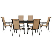 Hanover Brigantine 7-Piece Outdoor Dining Set w/ Glass-Top Table, Harvest Wheat