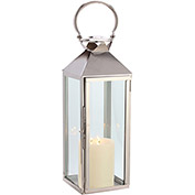 "Cambridge 7.5"" x 21""H Classic Outdoor Lantern, Polished Nickel"