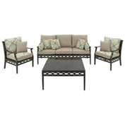Hanover Cortez 4-Piece Patio Set, Tan/Seafoam Breeze