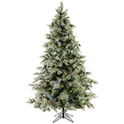 Fraser Hill Farm Artificial Christmas Tree - 9 Ft. Glistening Pine Tree - Multi-Color LED Lights