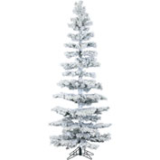 Fraser Hill Farm Artificial Christmas Tree, 7.5 Ft. Hillside Slim Pine Flocked, Multi LED Lights