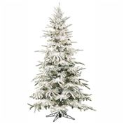 Fraser Hill Farm Artificial Christmas Tree - 9 Ft. Flocked Mountain Pine - Multi-Color LED Lighting