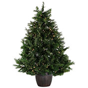 Fraser Hill Farm Artificial Christmas Tree - 5 Ft. Northern Cedar Teardrop in Pot - Clear LED Lights