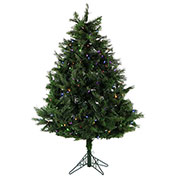 Fraser Hill Farm Artificial Christmas Tree - 5 Ft. Northern Cedar Teardrop - Multi-Color LED Lights