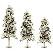 Fraser Hill Farm Artificial Christmas Tree - 3-Piece Snowy Alpine Tree Set - Clear Lights