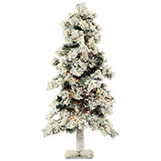 Fraser Hill Farm Artificial Christmas Tree - 2 Ft. Snowy Alpine Tree - Clear Lights - Set of 2