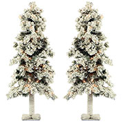 Fraser Hill Farm Artificial Christmas Tree - 3 Ft. Snowy Alpine Tree - Clear Lights - Set of 2