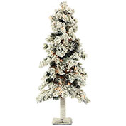 Fraser Hill Farm Artificial Christmas Tree - 3 Ft. Snowy Alpine Tree - Clear Lights