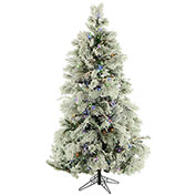 Fraser Hill Farm Artificial Christmas Tree - 12 Ft. Flocked Snowy Pine - Multi-Color LED Lighting