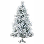 Fraser Hill Farm Artificial Christmas Tree - 6.5 Ft. Flocked Snowy Pine - Clear LED String Lighting
