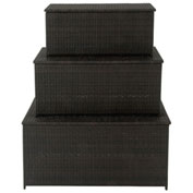 Hanover Hanover 3-in-1 Deck Box Set for Outdoor Storage, Dark Brown