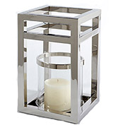 "Cambridge 16"" Outdoor Hurricane Lantern, Polished Nickel"