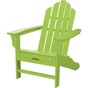 Hanover All-Weather Contoured Adirondack Chair w/ Hideaway Ottoman, Lime