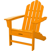 Hanover All-Weather Contoured Adirondack Chair w/ Hideaway Ottoman, Tangerine