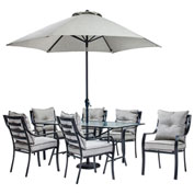 Hanover Lavallette 7-Piece Outdoor Dining Set w/ Table Umbrella & Base, Silver Linings