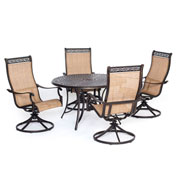 Hanover Manor 5-Piece Outdoor Dining Set w/ Four Swivel Rockers, Cedar