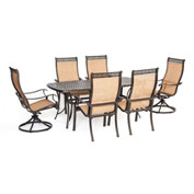 Hanover Manor 7-Piece Outdoor Dining Set w/ Two Swivel Rockers, Cedar