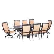 Hanover Manor 9-Piece Outdoor Dining Set w/ Two Swivel Rockers, Cedar
