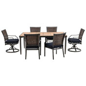 Hanover Mercer 7-Piece Dining Set, Navy Blue
