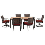 Hanover Mercer 7-Piece Dining Set, Crimson Red
