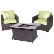 Hanover Metropolitan 3-Piece Woven Fire Pit Chat Set, Avocado Green/Faux-Woodgrain