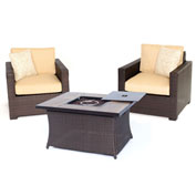 Hanover Metropolitan 3-Piece Woven Fire Pit Chat Set, Tan/Faux-Woodgrain