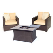 Hanover Metropolitan 3-Piece Woven Fire Pit Chat Set, Tan/Natural Stone