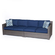 Hanover Metropolitan 2-Piece Loveseat Set, Navy Blue/Gray
