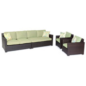 Hanover Metropolitan 4-Piece Lounge Set, Avocado Green/French Roast