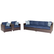 Hanover Metropolitan 4-Piece Lounge Set, Navy Blue/French Roast