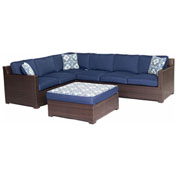 Hanover Metropolitan 5-Piece Lounge Set, Navy Blue/French Roast
